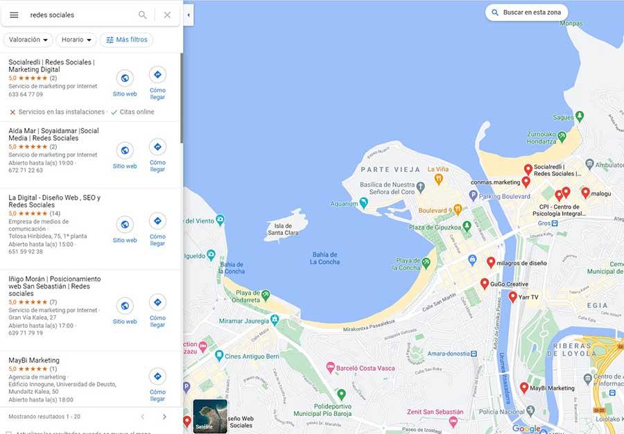 búsqueda Google Maps