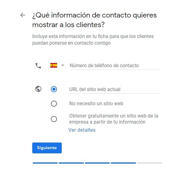 informacion de contacto google mi negocio